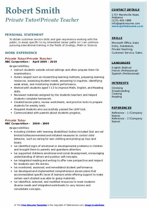 Private Tutor/Private Teacher Resume Model