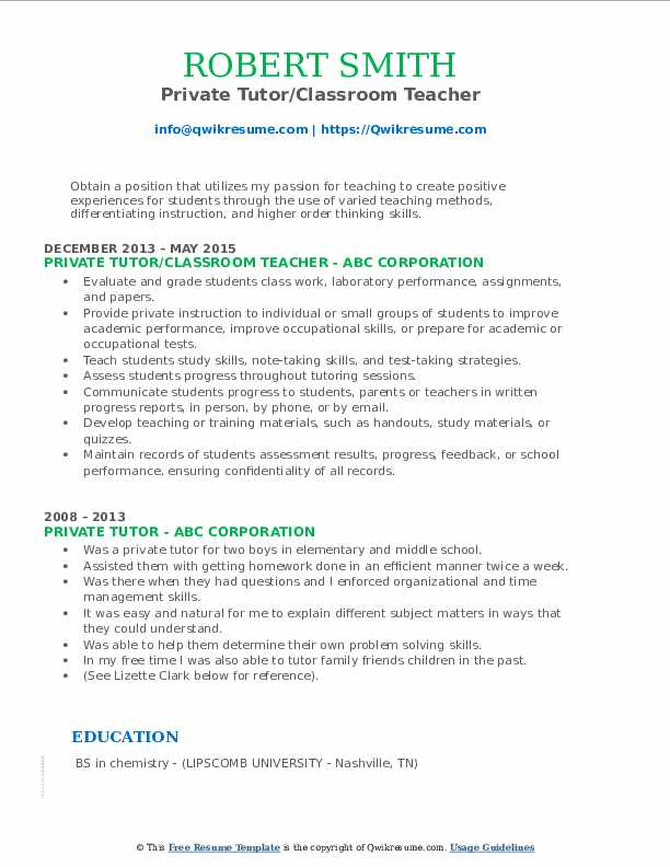 Private Tutor/Classroom Teacher Resume Format