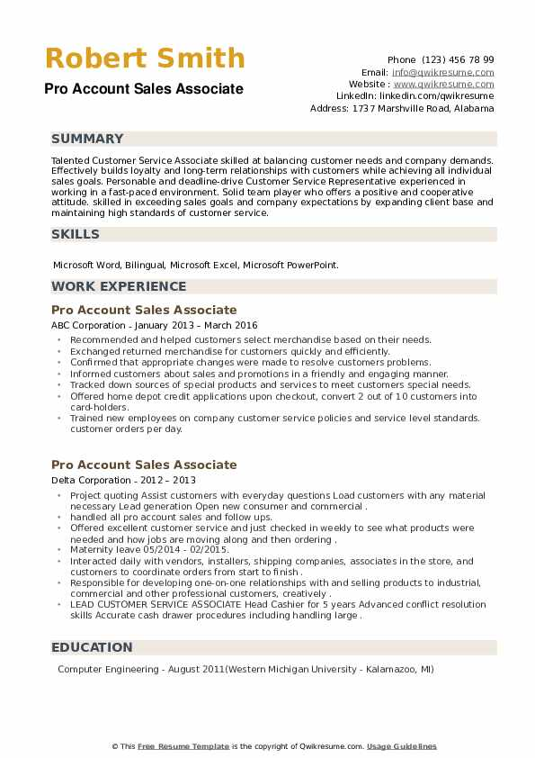 Pro Account Sales Associate Resume example