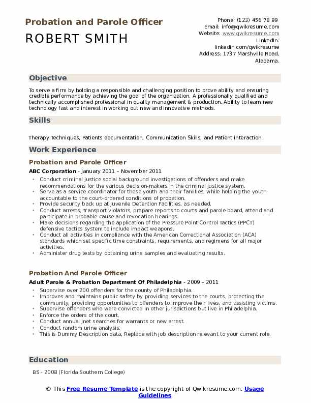 Probation And Parole Officer Resume example