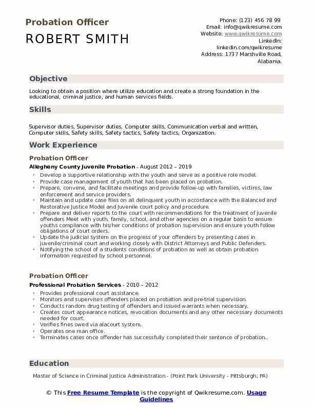 Probation Officer Resume Format