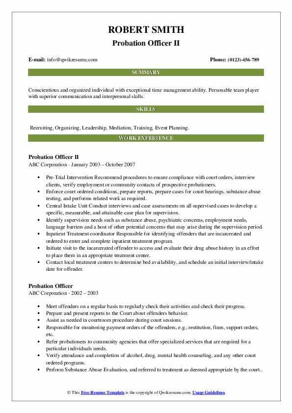 Probation Officer II Resume Format