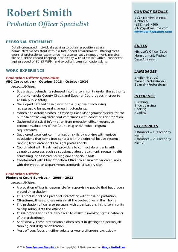 Probation Officer Specialist Resume Model