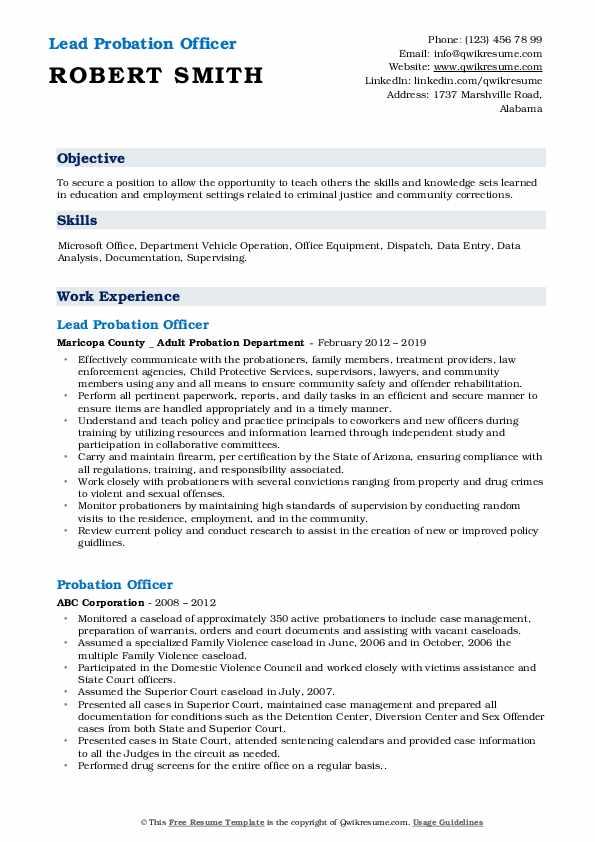 Lead Probation Officer Resume Model