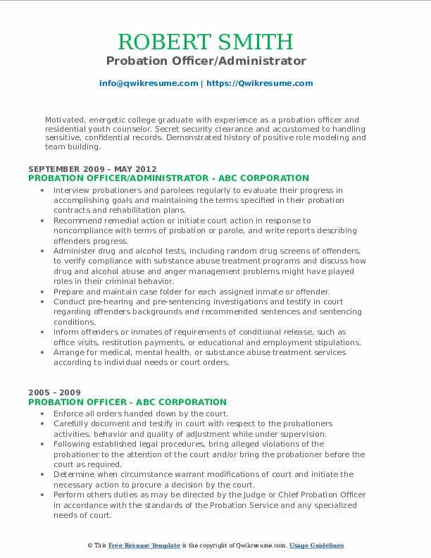 Probation Officer/Administrator Resume Model
