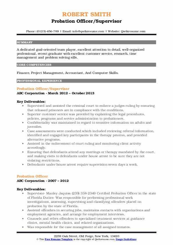 Probation Officer/Supervisor Resume Sample