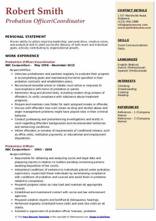 Probation Officer/Coordinator Resume Example