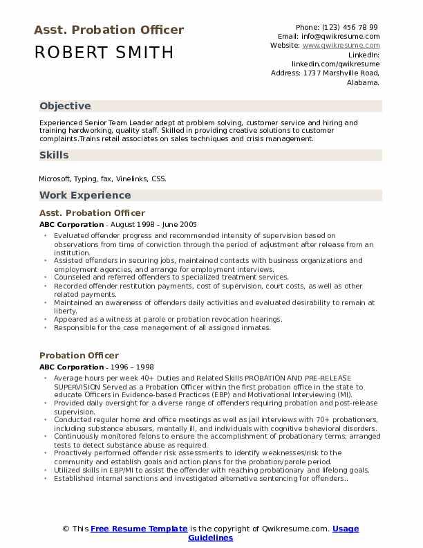 Asst. Probation Officer Resume Format