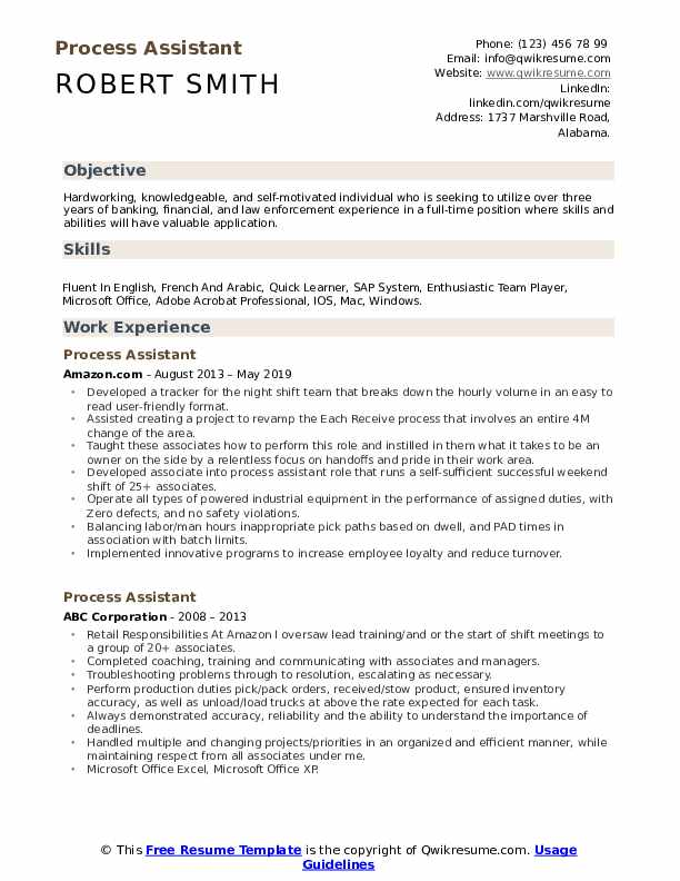 Process Assistant Resume Template