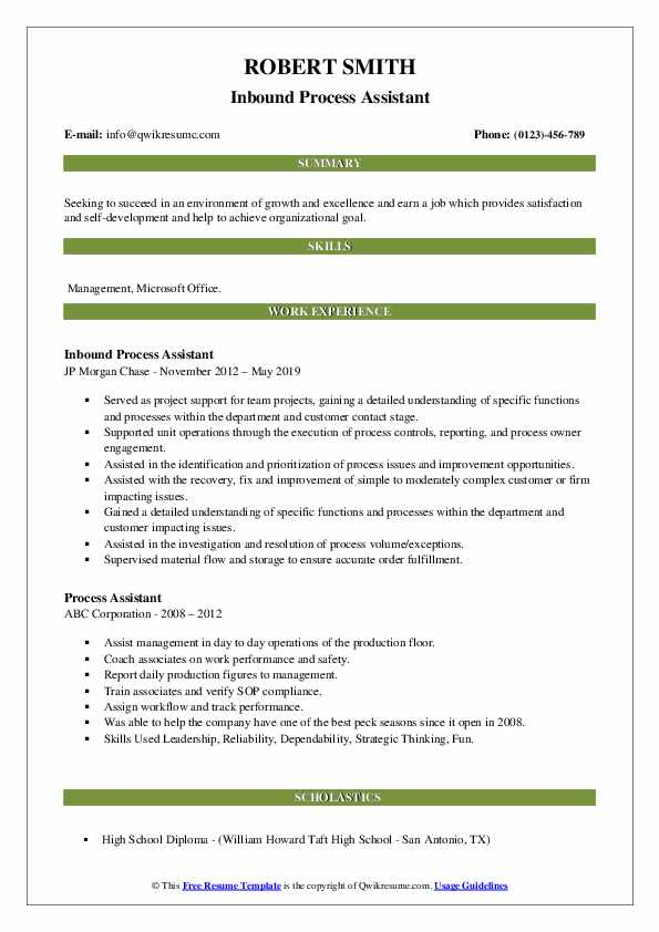 Inbound Process Assistant Resume Example