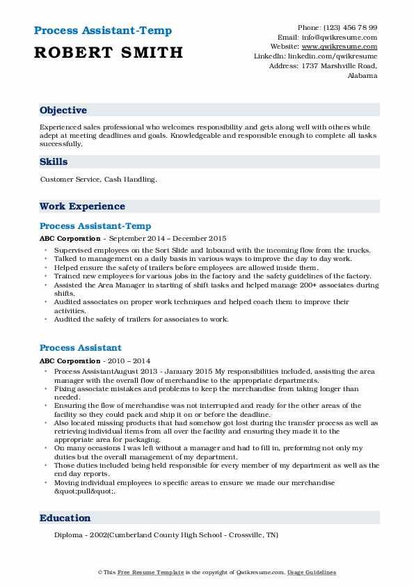 Process Assistant-Temp Resume Model