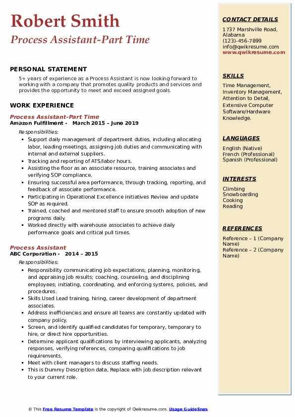 Process Assistant-Part Time Resume Model