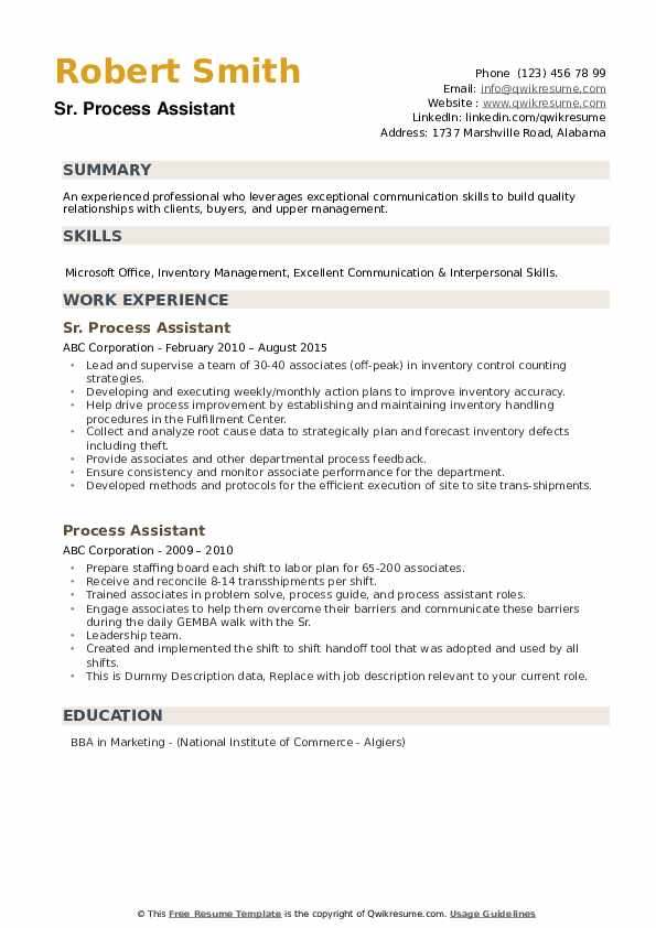 Sr. Process Assistant Resume Example