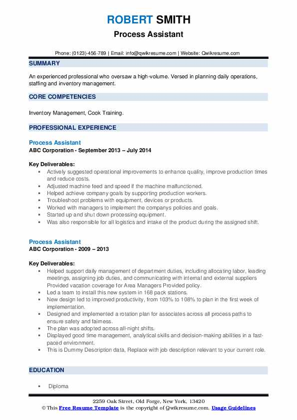 Process Assistant Resume example