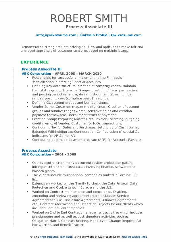 Process Associate III Resume Format