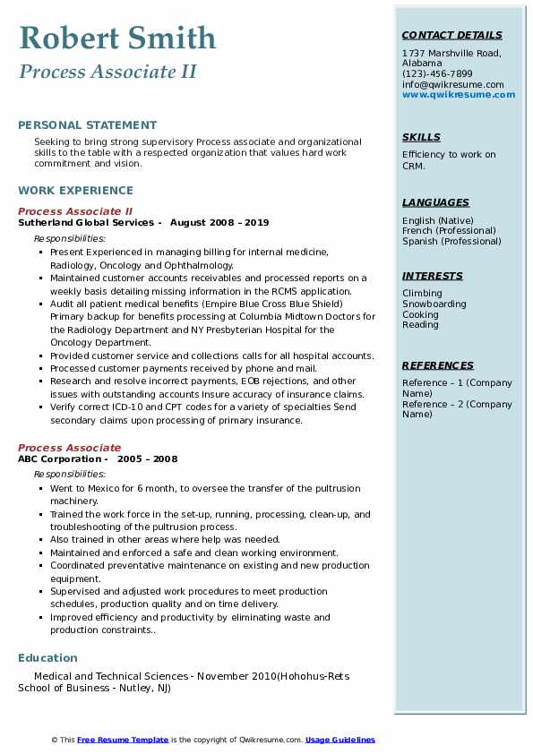 Process Associate II Resume Sample