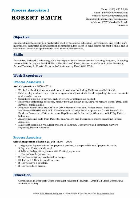 Process Associate I Resume Example