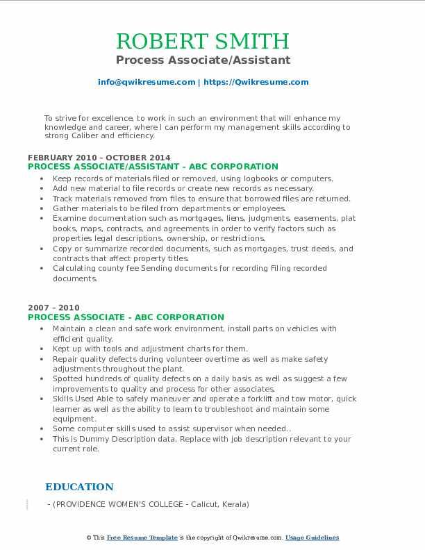 Process Associate/Assistant Resume Format