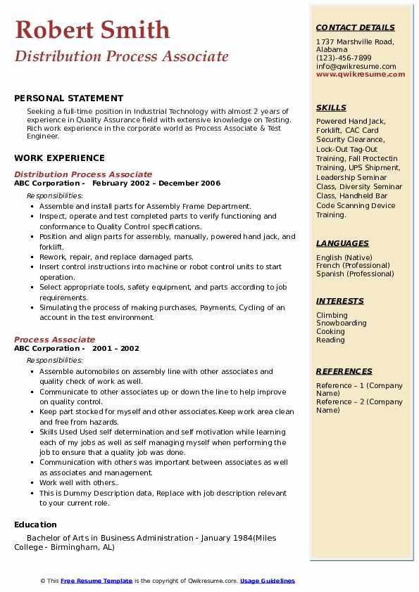 Distribution Process Associate Resume Example