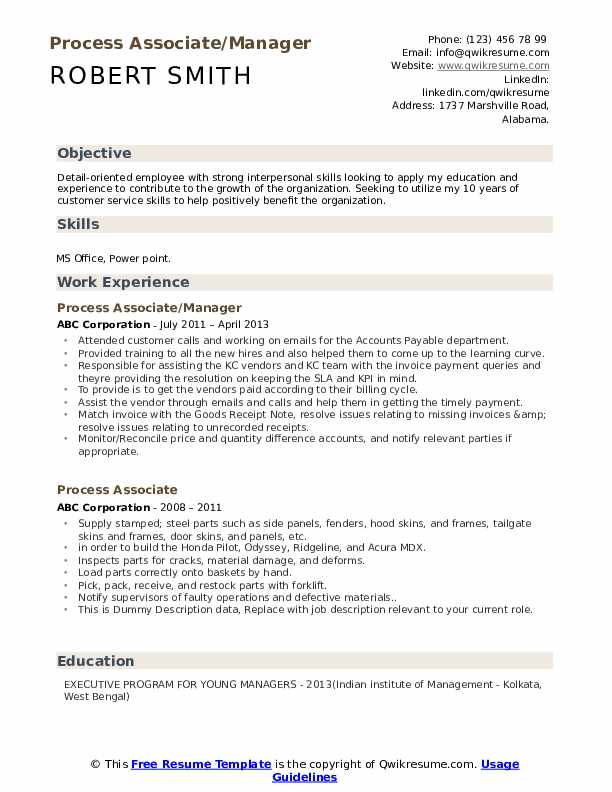 Process Associate/Manager Resume Template