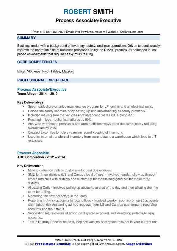 Process Associate/Executive Resume Format