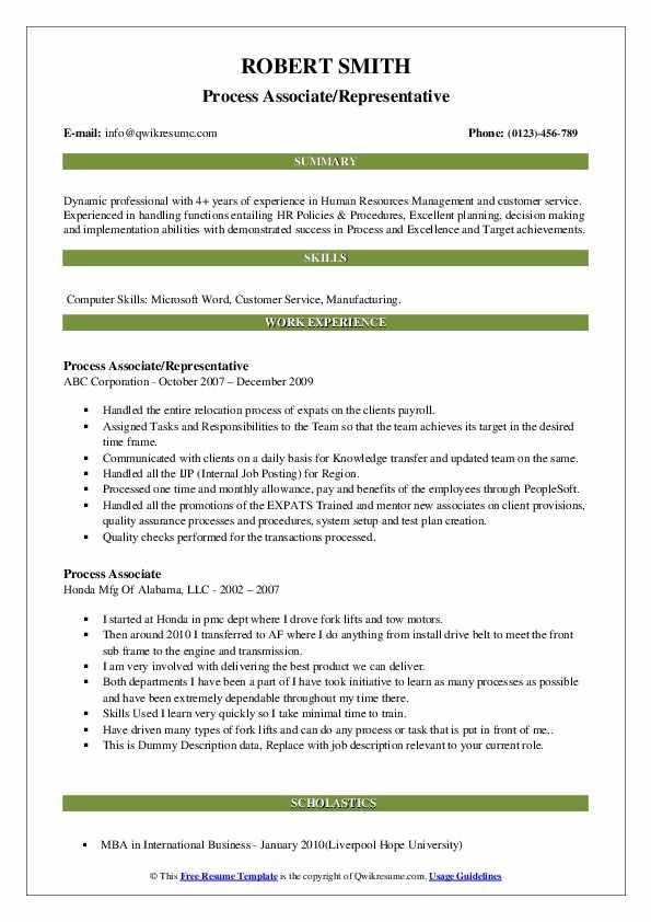 Process Associate/Representative Resume Template