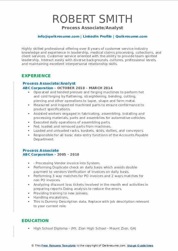 Process Associate/Analyst Resume Sample
