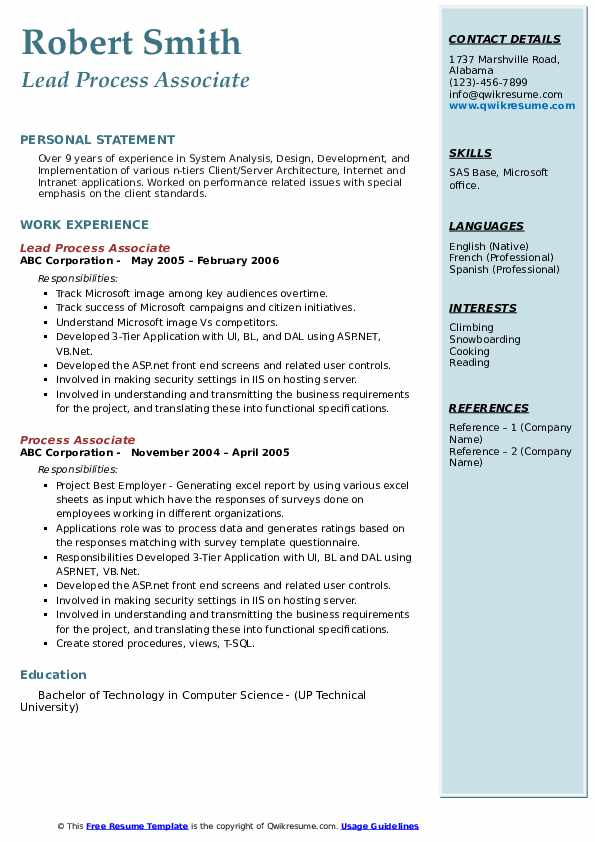 Lead Process Associate Resume Sample