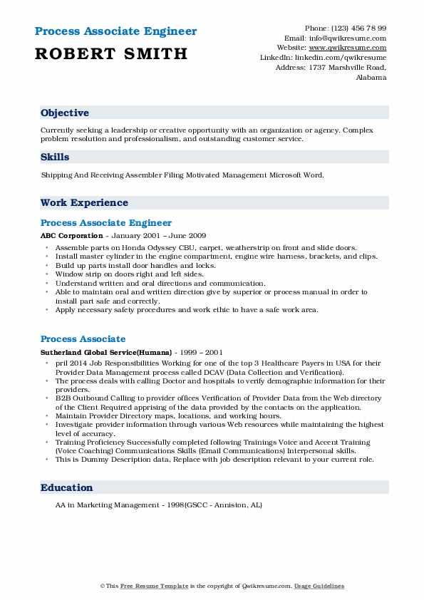 Process Associate Engineer Resume Sample