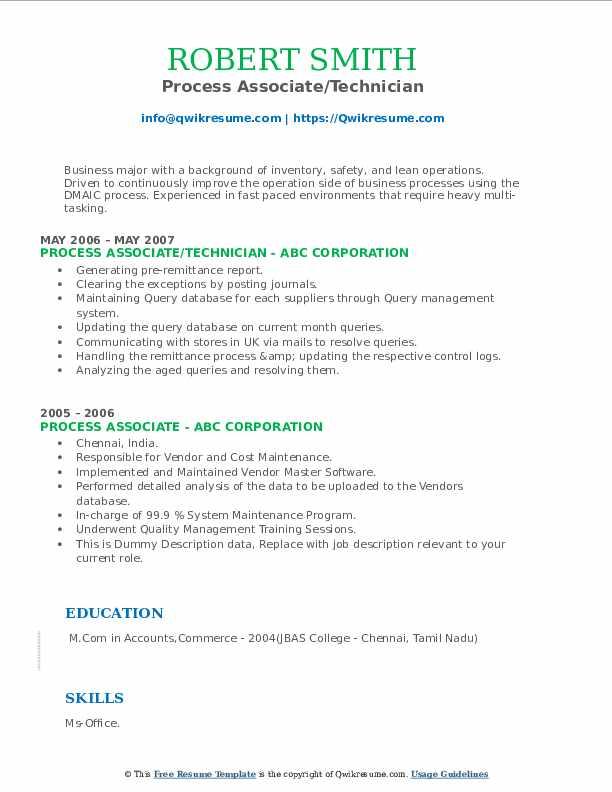 Process Associate/Technician Resume Model