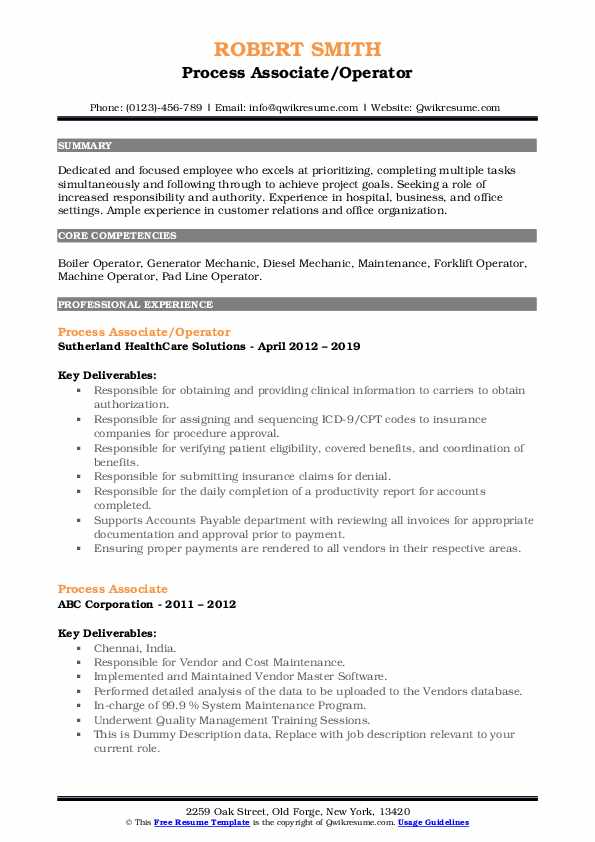Process Associate/Operator Resume Format