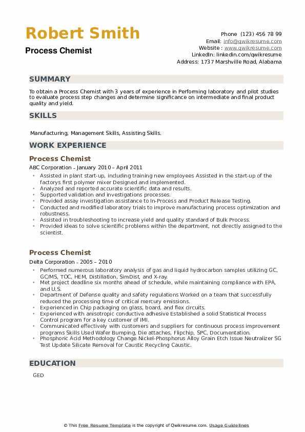 Process Chemist Resume example