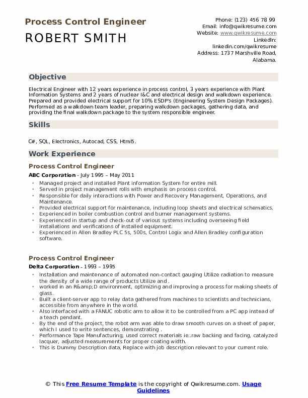 process control engineer resume samples