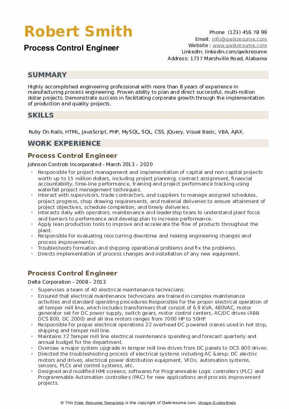 Process Control Engineer Resume example