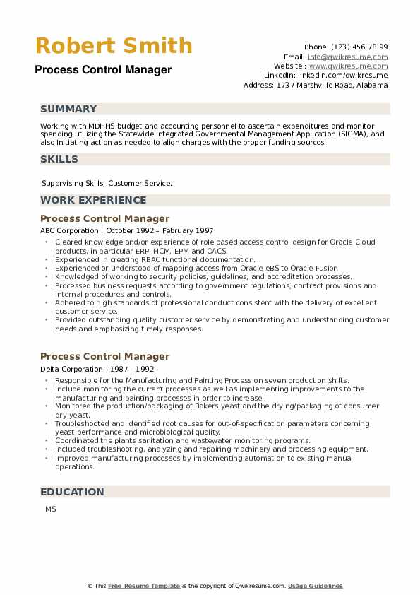 Process Control Manager Resume example