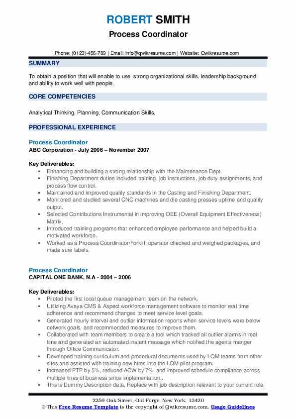 Process Coordinator Resume example
