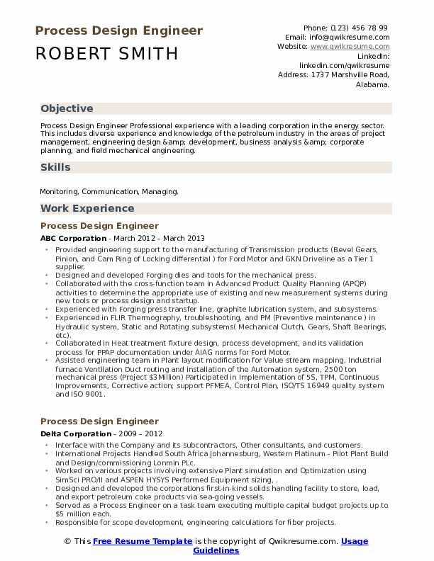 process design engineer resume samples  qwikresume