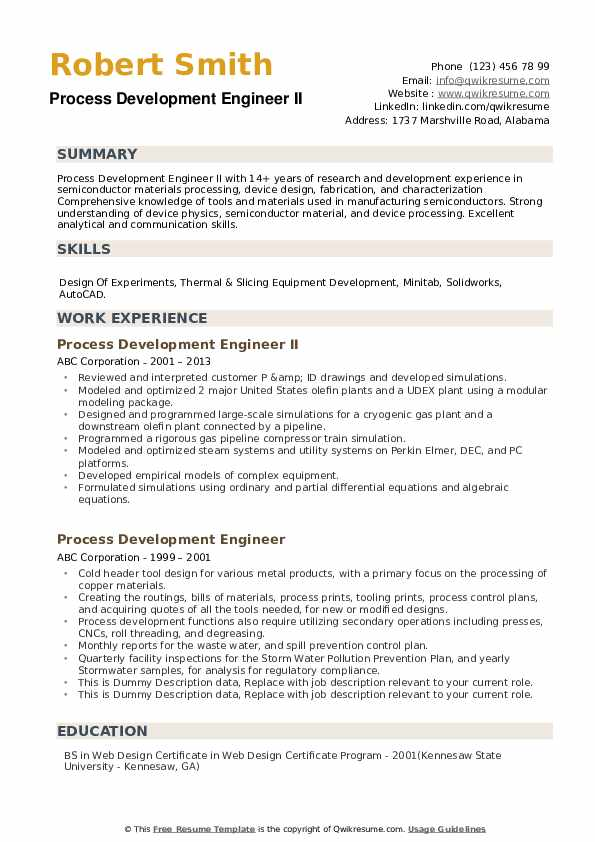 Process Development Engineer Resume example