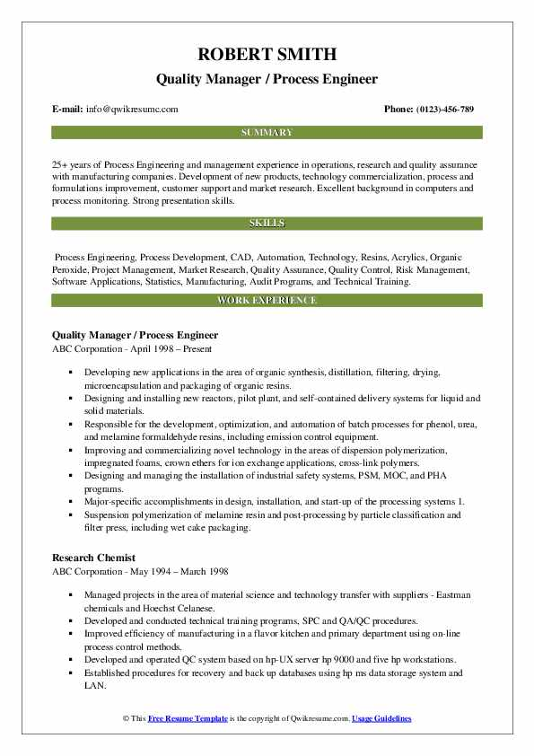 Quality Manager / Process Engineer Resume Model