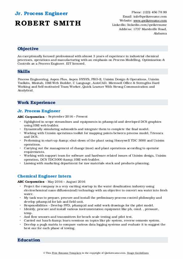 Jr. Process Engineer Resume Example