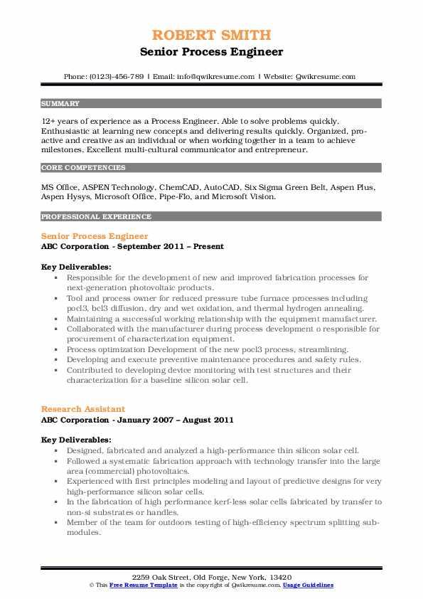 Senior Process Engineer Resume Model