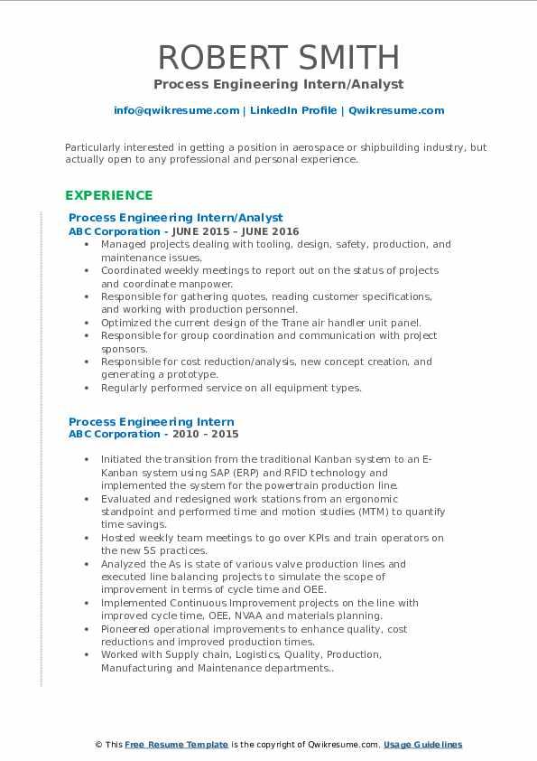 process engineering intern resume samples  qwikresume