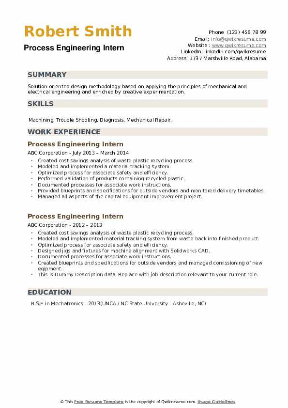 Process Engineering Intern Resume example