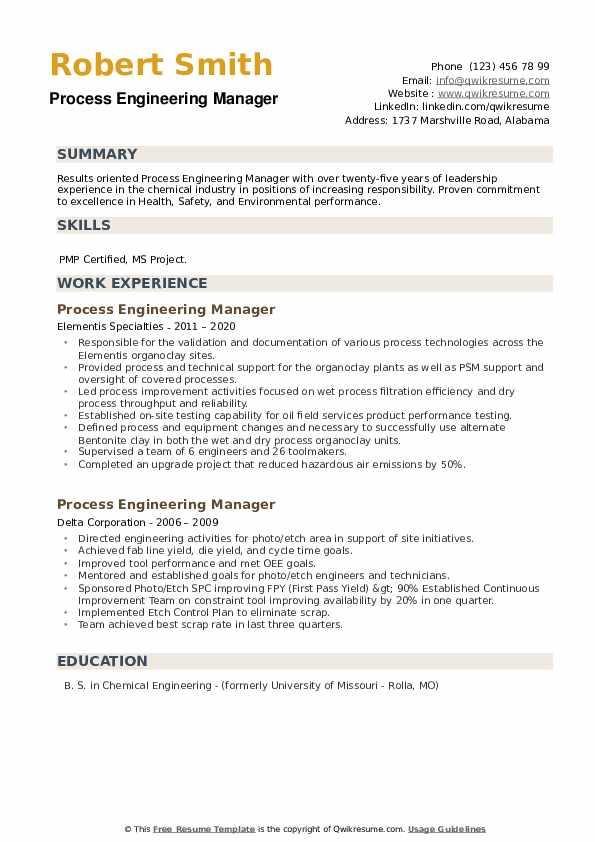 Process Engineering Manager Resume example