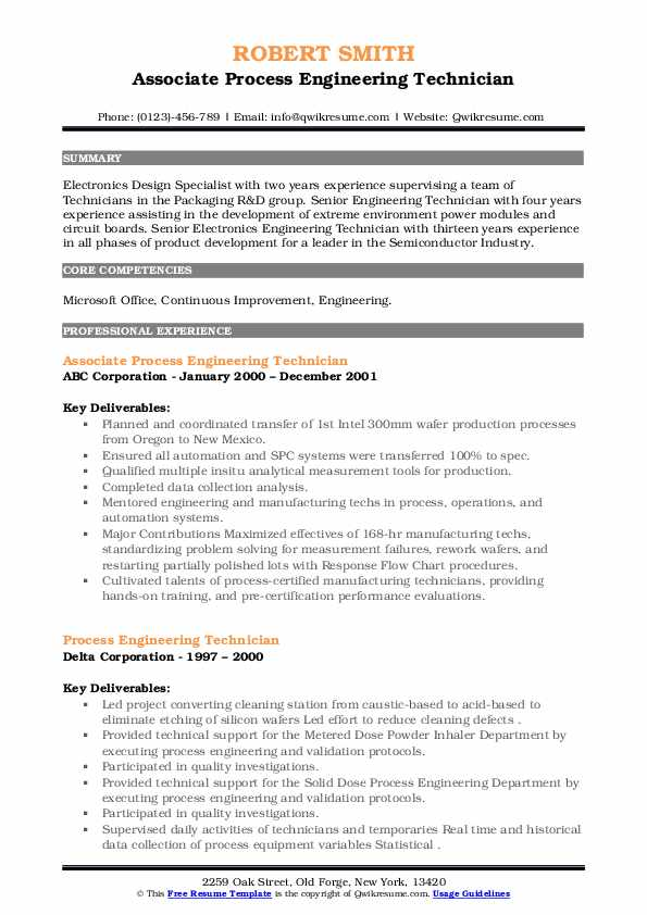 process engineering technician resume samples  qwikresume