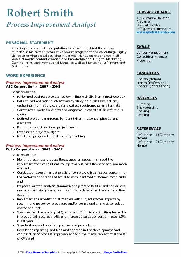 process improvement analyst resume samples  qwikresume