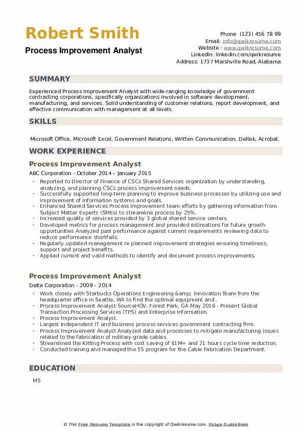 Process Improvement Analyst Resume example