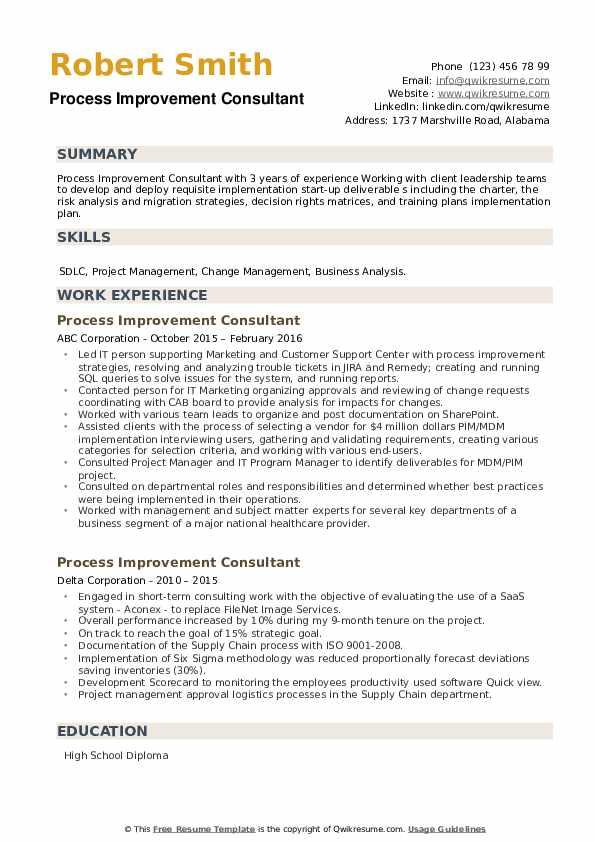 process improvement consultant resume samples  qwikresume