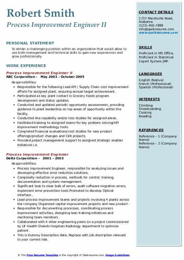 process improvement engineer resume samples