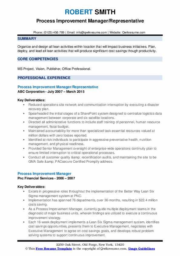 process improvement manager resume samples